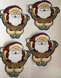Merry-Christmas-Santas-Iron-On-fabric-appliques-Holiday-Crafts
