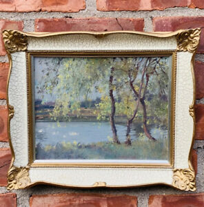 C1915 American Impressionist New Jersey Landscape Oil Painting By Edward Dufner