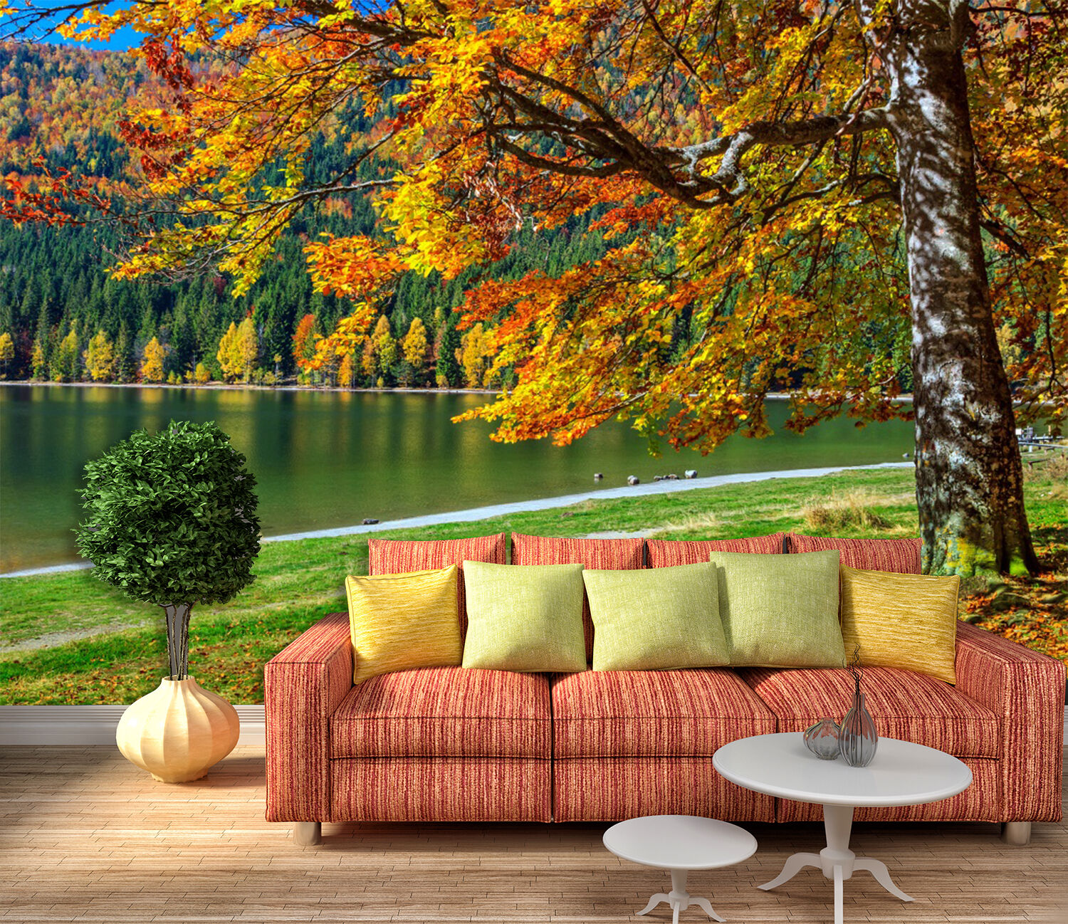 3D Mountain Lake 015 WallPaper Murals Wall Print Decal Wall Deco AJ WALLPAPER