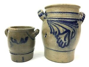 Antique-Westerwald-Salt-Glazed-Cobalt-Stoneware-Handled-Crocks-8-5-5-25-034-German
