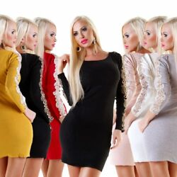 5638 Sexy Damen Feinstrick Pullover Langarm Longpullover Strickkleid Spitze