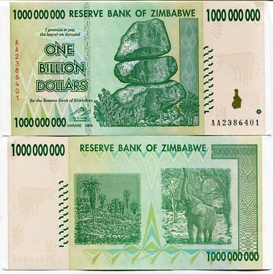 Confident Zimbabwe 1 Billion Dollars 2008 P 83 Unc Coins & Paper Money Paper Money: World
