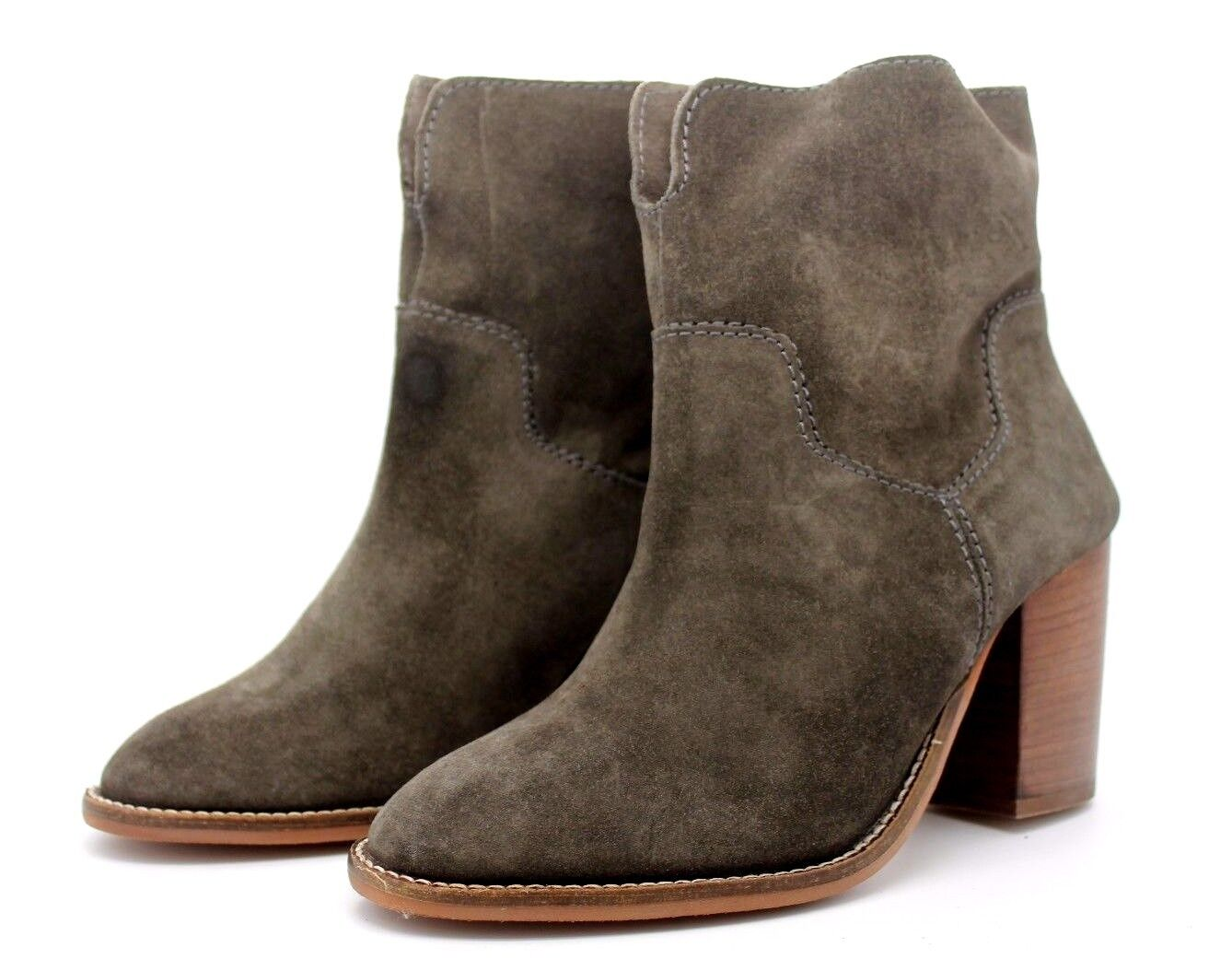Debenhams Designers Womens UK 6 Grey Suede Leather Western Ankle Boots - Defect