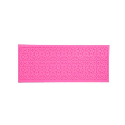 Silicone Pink Lace Mold Mould Sugar Craft Fondant Mat Cake Decorating Bake Tools