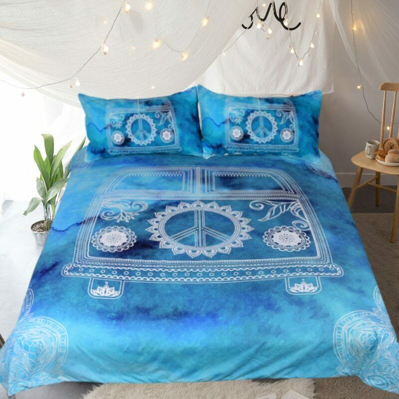 Blau Mini Van Hippie Car Double Single Quilt Duvet Pillow Cover Bed Set Bedding