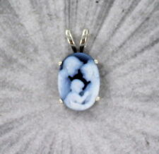 Blue Agate Cameo Necklace Pendant in Sterling Silver Setting  mother and child