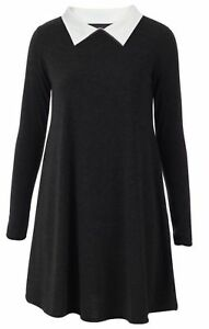 Womens-Ladies-Peter-Pan-Collar-Long-Sleeve-Flared-Swing-Dress-Top-Plus-Size-8-26