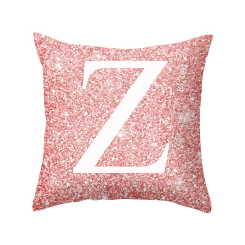 A-Z Letters Cushion Silver Throw Pillow Case Cover Home Sofa Bed Decor 18X18inch