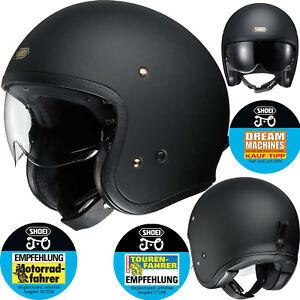 SHOEI-Jethelm-J-O-SOLID-mit-Visier-schwarz-matt-Motorradhelm-Helm-Gr-S-55-56