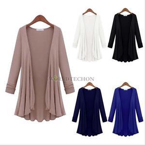 Women Girl Looks Thin Cardigan Knitwear Long Shawl Sweater Jacket ...