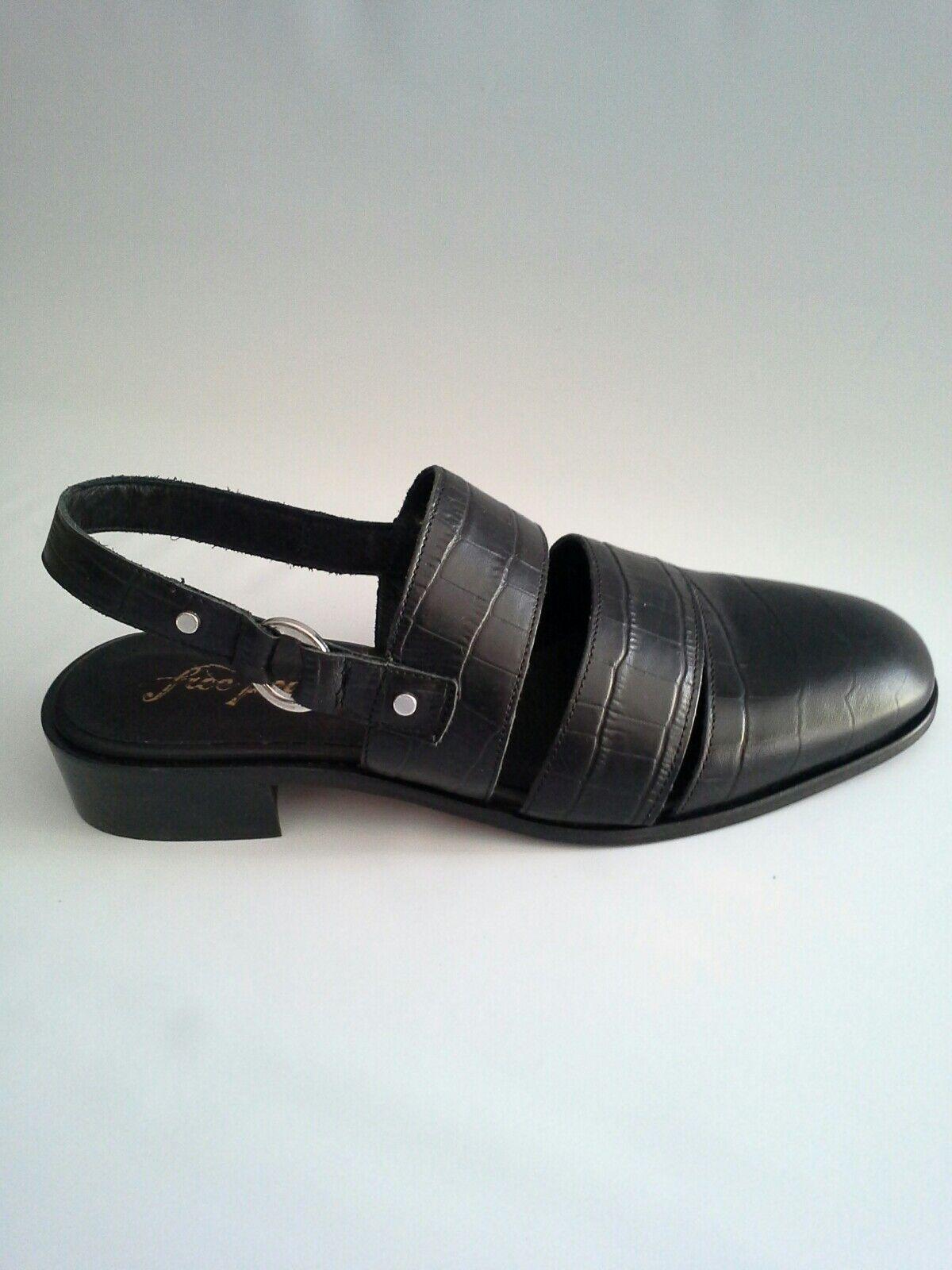 Free People Runaway Slingback Loafer Sandal Embossed Leather Black Black Black Sz 39  138 96eaea