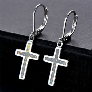 Fashion-Exquisite-White-Artificial-Opal-cross-Dangle-Earrings-Jewelry-wedding