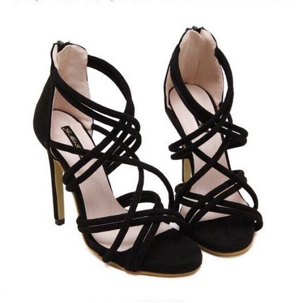 FrauenSandaleeen Absatz 11.5 cm elegant Stilett schwarz elegant simil Leder CW528