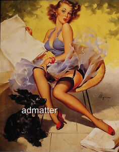 GIL ELVGREN PIN-UP POSTER GIRL SEXY PHOTO BLOWING BACK PUPPY DOG EARS!