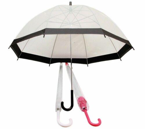 "23/"" Clear Dome Umbrella White//Pink//Black Mens//Ladies Transparent Clear Umbrella"