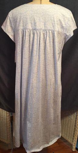 Eileen West 100/% Cotton knit long blue white swirl short cap sleeve Night Gown
