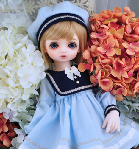 New Lovely Pink//blue //white sailor suit Dress for BJD 1//3 1//4 1//6 Doll Clothes