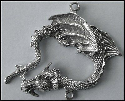 PEWTER CHARM #321 Dragon (40mm x 45mm) 2 bails joiner for suncatcher