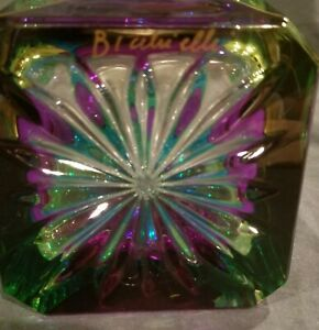 BICCHIELLI ART GLASS HAND ENAMELED & SIGNED DECANTER BOTTLE MADE IN ITALY RARE