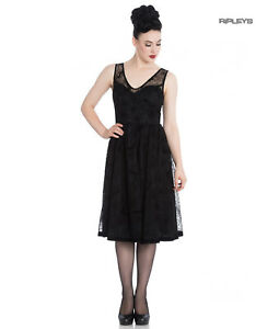 Hell Bunny 50s Black Gothic Dress Witchy AMARANDE Halloween Spiders Bats XS 8