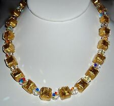 24K Gold Infused Murano Glass Cube and Crystal Necklace