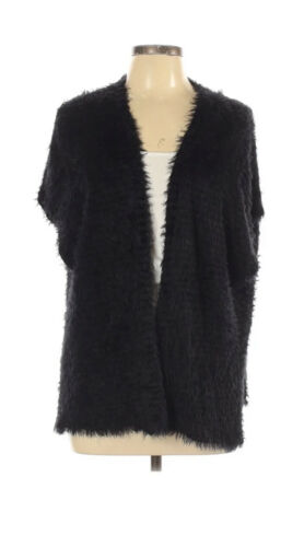 Chicos Erin Eyelash Chenille Black Cape/Open Front