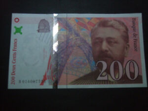 billet-200F-EIFFEIL-NEUF-LEGER-PLIS-CENTRAL-1996
