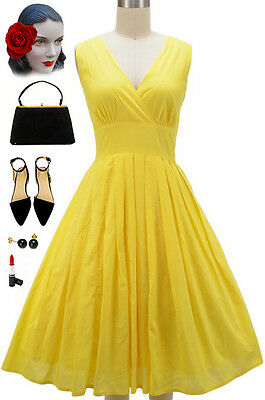 50s Style Bombshell PINUP V-Neck Surplice Sun Dress w/FULL Skirt in LEMON YELLOW