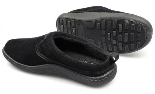 Dr Keller FREDDIE Mens Soft Fleece Warm Slip On Comfy Padded Mule Slippers Black