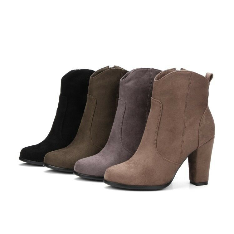 Ankle Boots Suede Block Heels Side Zip Fashion Women Casuals shoes Solid NEW