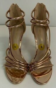 4bbf82c99ff Details about Steve Madden Girl Viino Rose Gold Strappy High Heel Ankle  Strap Shoes Size 8