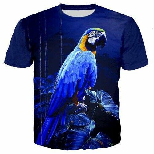 Bird Parrot Summer Casual Women Men T-Shirt 3D Print Short Sleeve Tee tops
