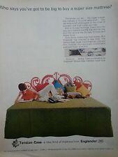 1966 Englander Mattress Tension Easy Woman Radio Books Bed Retro Print Ad