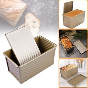 Pullman-Loaf-Pan-w-Lid-Non-Stick-Bakeware-Bread-Toast-Mold-Aluminum-Corrugated