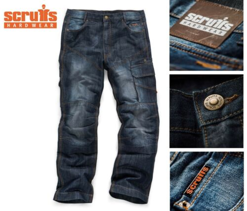Scruffs Trade Denim Work Trousers Industrial Blue Jeans Active Hoodie TWINPACK