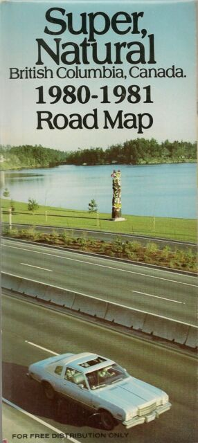 1980 BRITISH COLUMBIA Official Highway Road Map Canada Vancouver Victoria Duncan