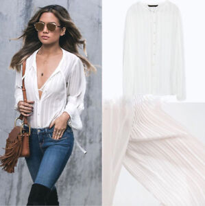 556274787a5588 Image is loading NEW-ZARA-WHITE-FLOWING-PLEATED-SLEEVES-BLOUSE-SHIRT-