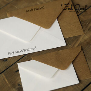 10 wedding invitation envelopes textured white ribbed kraft brown