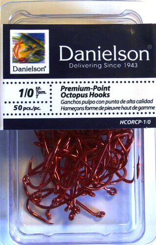 100 Danielson HCORCP Red Chrome Octopus Fish Fishing Hooks size 1//0-100 Hooks
