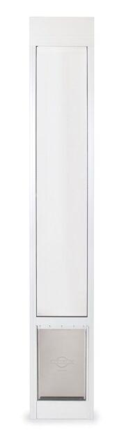 Dog Door Pet Door for Sliding Patio Aluminum 2 Heights White Medium to 40 LB
