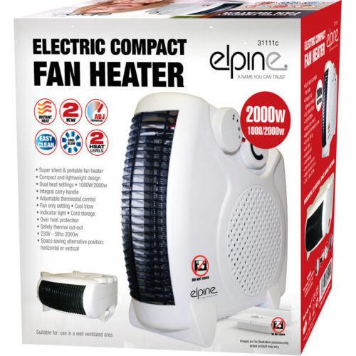 COOL UPRIGHT 111 2KW 100W//2000W HEATER PORTABLE SILENT ELECTRIC FAN HEATER HOT