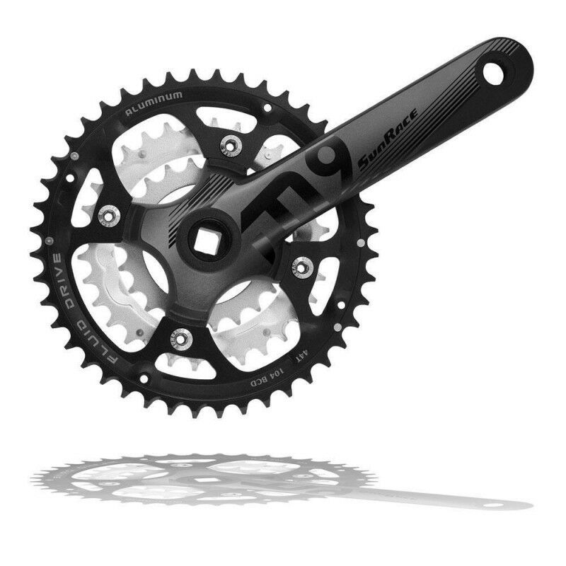 Sunrace M914 9 Speed Chainset Crankset 44-32-24T 175mm