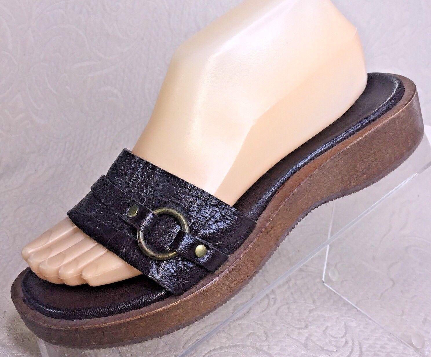 J CREW Women 7 Sandal Brown Leather Wood Slip on Slide Wedge Heel Flatform shoes