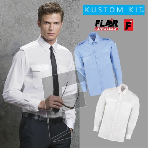 Kustom Kit Men/'s Long Sleeved Pilot Shirt Security Work Shirt Large