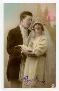 1920s French Glamour Glamor PRETTY BRIDE Flapper Lady Deco photo postcard