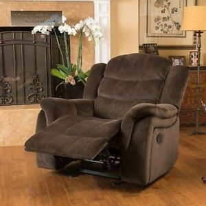 Brown fabric recliner glider lazy chair reclining seat - Fabric reclining living room sets ...
