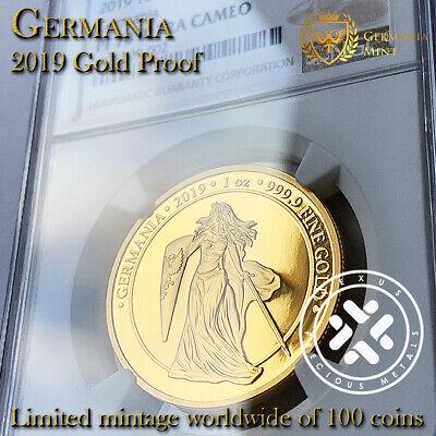 2019 GERMANIA PCGS PR69 DCAM 5 MARK 1 OZ .9999 SILVER PROOF COIN MINTAGE 1000