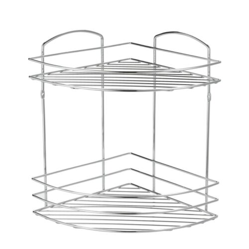 Wall Mounted Chrome Wire 2 Tier Corner Bathroom Shower Basket CaddyLexington