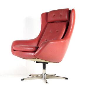 Retro-Vintage-Danish-Design-Leather-Swivel-Lounge-Egg-Chair-Armchair-1960s-70s