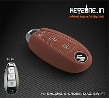 KeyZone Silicone Smart Key Cover for Suzuki Ciaz, S-Cross, Baleno, Swift(Cognac)